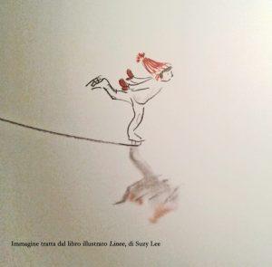Immagine tratta dal libro illustrato Linee, di Suzy Lee, Corraini Edizioni, 2017