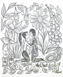 Disegno autografo di - Raymond Peynet, da Codice dei fidanzati, di Achille Campanile, Milano, Federico Elmo Editore, 1958