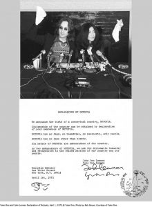 Declaration of Nutopia,1973 (John Lennon and Yoko Ono)