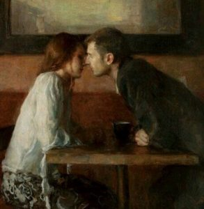 "Quadro di Ron Hicks (Ohio, 1965) - ""Stolen kiss"""