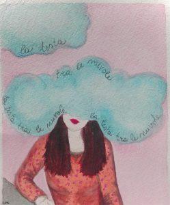 la testa tra le nuvole watercolors