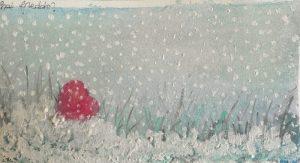 neve nevica cuore a terra acquarelli e gouache